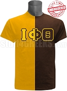 Iota Phi Theta Split Letter Two-Tone T-Shirt, Gold/Brown - EMBROIDERED with Lifetime Guarantee