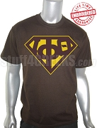 Iota Phi Theta T-Shirt with Greek Letters inside Superman Shield, Brown - EMBROIDERED with Lifetime Guarantee
