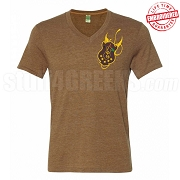 Iota Shield V-Neck T-Shirt, Brown - EMBROIDERED with Lifetime Guarantee