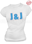 Jack & Jill Ladies Organization Letter T-Shirt, White - EMBROIDERED with Lifetime Guarantee
