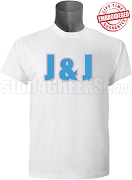 Jack & Jill Men's Organization Letter T-Shirt, White - EMBROIDERED with Lifetime Guarantee