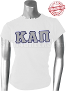 Kappa Alpha Pi Ladies Greek Letter T-Shirt, White - EMBROIDERED with Lifetime Guarantee