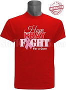 Kappa Alpha Psi Hope, Pray, Fight Breast Cancer Awareness T-Shirt, Red - EMBROIDERED with Lifetime Guarantee
