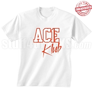 Ace Klub T-Shirt, White/Red - EMBROIDERED with Lifetime Guarantee