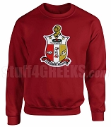 Kappa Alpha Psi Crimson Crewneck Sweatshirt with Chenille Coat of Arms