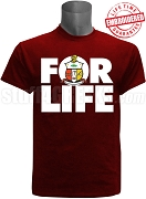 Kappa Alpha Psi For Life T-Shirt, Crimson - EMBROIDERED with Lifetime Guarantee