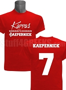 Kappas for Kaepernick Screen Printed T-Shirt, Red, BACK INCLUDED