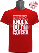 Kappa Alpha Psi Pink Ribbon Knock Out (Breast) Cancer T-Shirt, Red - EMBROIDERED with Lifetime Guarantee
