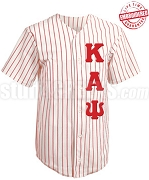 Kappa Alpha Psi Cloth Pinstripe Baseball Jersey with Greek Letters (TW) - EMBROIDERED WITH LIFETIME GUARANTEE
