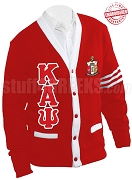 Kappa Alpha Psi Greek Letter Cardigan with Crest and White Stripes, Red (A+)