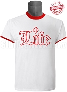 Kappa Alpha Psi Old English Life Ringer Tee, White/Red - EMBROIDERED with Lifetime Guarantee