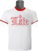 Kappa Alpha Psi Old English Life Screen Printed Ringer Tee, White/Red