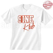 9/Nine Klub T-Shirt, White/Red - EMBROIDERED with Lifetime Guarantee