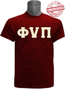 Kappa Alpha Psi T-Shirt with Phi Nu Pi Letters, Crimson -  EMBROIDERED with Lifetime Guarantee