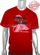 Kappa Alpha Psi Pink Ribbon Breast Cancer Awareness T-Shirt, Red - EMBROIDERED with Lifetime Guarantee