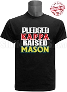 Kappa Alpha Psi Raised Mason T-Shirt, Black - EMBROIDERED with Lifetime Guarantee