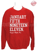Kappa Alpha Psi Founding Date Sweatshirt, Red- EMBROIDERED with Lifetime Guarantee