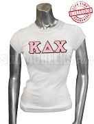 Kappa Delta Chi Greek Letter T-Shirt, White - EMBROIDERED with Lifetime Guarantee