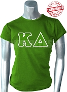 Kappa Delta T-Shirt with Greek Letters, Kelly Green - EMBROIDERED with Lifetime Guarantee