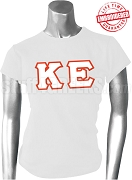 Kappa Epsilon Greek Letter T-Shirt, White - EMBROIDERED with Lifetime Guarantee