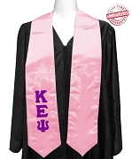 Kappa Epsilon Psi Satin Graduation Stole with Greek Letters, Pink