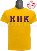 Kappa Eta Kappa Greek Letter T-Shirt, Gold - EMBROIDERED with Lifetime Guarantee