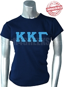 Kappa Kappa Gamma T-Shirt with Greek Letters, Navy Blue - EMBROIDERED with Lifetime Guarantee