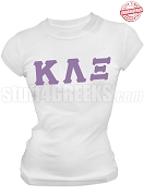 Kappa Lambda Xi Greek Letter T-Shirt, White - EMBROIDERED with Lifetime Guarantee