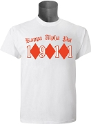 KappaNupeGear - Kappa Alpha Psi Triple Diamond and Founding Year T-Shirt, White - Screen Printed