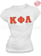Kappa Phi Lambda Greek Letter T-Shirt, White - EMBROIDERED with Lifetime Guarantee