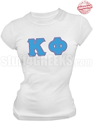 Kappa Phi Club Greek Letter T-Shirt, White - EMBROIDERED with Lifetime Guarantee