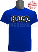 Kappa Psi Omega Greek Letter T-Shirt, Royal Blue - EMBROIDERED with Lifetime Guarantee