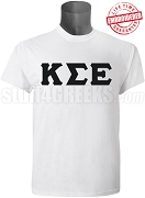 Kappa Sigma Epsilon Greek Letter T-Shirt, White - EMBROIDERED with Lifetime Guarantee