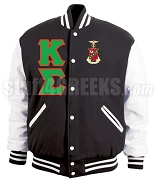 Kappa Sigma Varsity Letterman Jacket with Greek Letters and Crest, Black/White