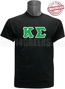 Kappa Sigma Greek Letter T-Shirt, Black - EMBROIDERED with Lifetime Guarantee