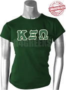 Kappa Xi Omega Greek Letter T-Shirt, Forest Green - EMBROIDERED with Lifetime Guarantee