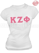Kappa Zeta Phi Greek Letter T-Shirt, White - EMBROIDERED with Lifetime Guarantee