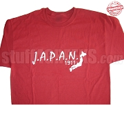 J.A.P.A.N. 1911 T-Shirt, Crimson/White - EMBROIDERED with Lifetime Guarantee
