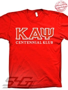 Kappa Centennial Klub T-Shirt, Red - EMBROIDERED with Lifetime Guarantee