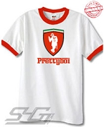 Smooth Nupe Prettyboi Ferrari-Style Logo, White Ringer Tee with Red Cuffs - EMBROIDERED with Lifetime Guarantee