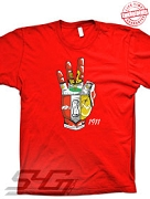 Kappa Hand Crest Embroidered, Red T-Shirt - EMBROIDERED with Lifetime Guarantee