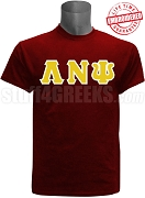 Lambda Nu Psi Greek Letter T-Shirt, Crimson - EMBROIDERED with Lifetime Guarantee