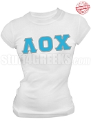 Lambda Omicron Chi Greek Letter T-Shirt, White - EMBROIDERED with Lifetime Guarantee