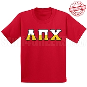 Lambda Pi Chi Half Letters T-Shirt, Red - EMBROIDERED with Lifetime Guarantee