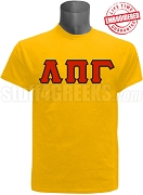 Lambda Pi Gamma Greek Letter T-Shirt, Gold - EMBROIDERED with Lifetime Guarantee