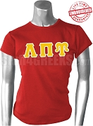 Lambda Pi Upsilon Greek Letter T-Shirt, Red - EMBROIDERED with Lifetime Guarantee
