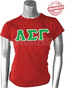 Lambda Sigma Gamma Greek Letter T-Shirt, Red - EMBROIDERED with Lifetime Guarantee