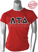Lambda Tau Delta Greek Letter T-Shirt, Red - EMBROIDERED with Lifetime Guarantee