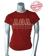 Lambda Theta Alpha T-Shirt with Greek Letters, Crimson - EMBROIDERED with Lifetime Guarantee