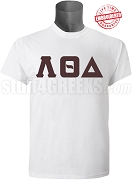 Lambda Theta Delta Greek Letter T-Shirt, White - EMBROIDERED with Lifetime Guarantee